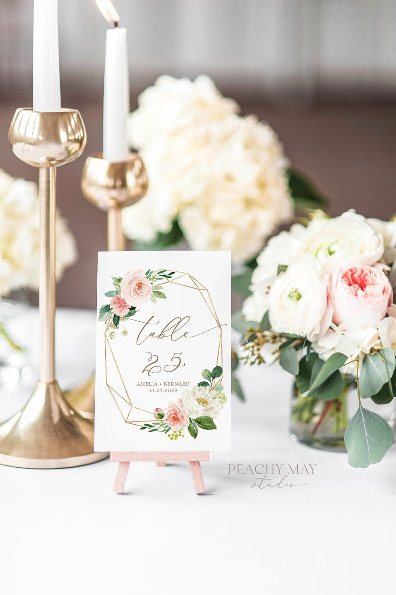 Blush Peony Wedding Table Numbers Template 013