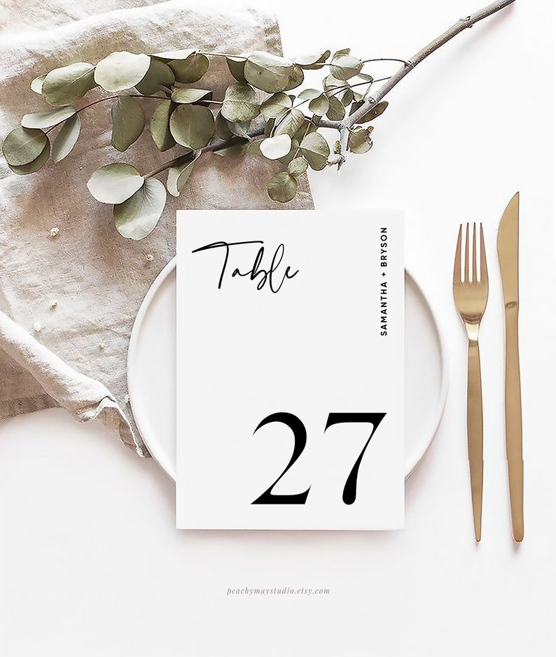 Modern Wedding Table Number Template 045