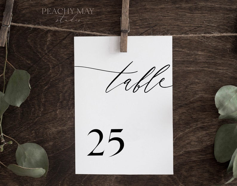 Minimalist Wedding Table Number Template 046