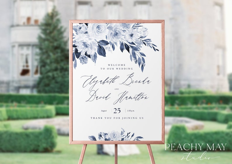 Navy Wedding Welcome Sign Template 032