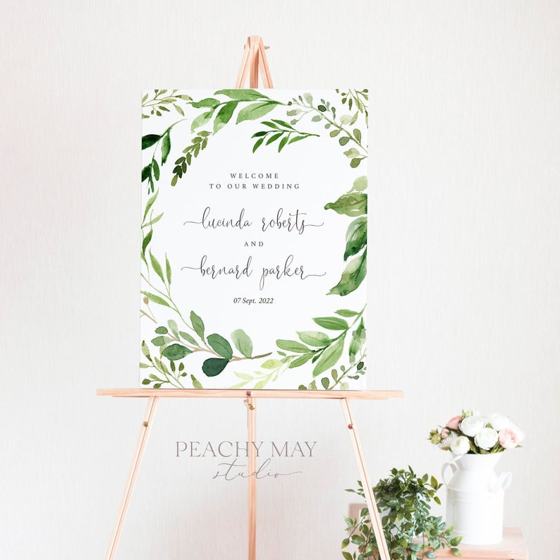 Greenery Wedding Welcome Sign Template 033
