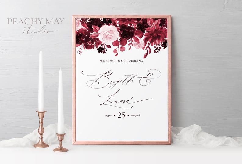 Burgundy Wedding Welcome Sign Template 034