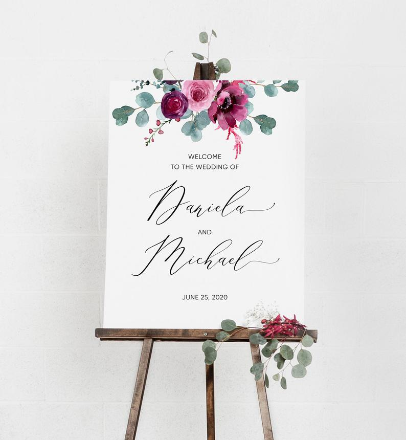 Floral Modern Wedding Welcome Sign Template 051