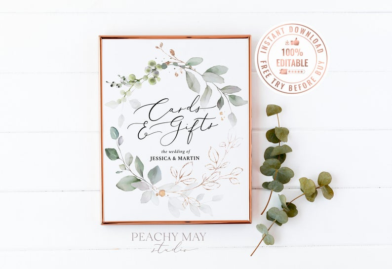 Editable Greenery Cards and Gifts Sign Template 1
