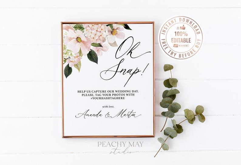 Floral Oh Snap Wedding Sign Template 13