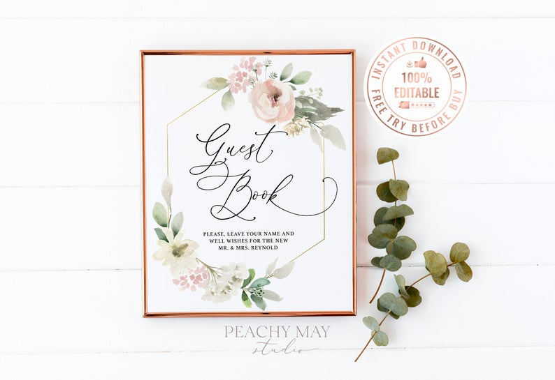 Floral Guest Book Table Sign Template 17