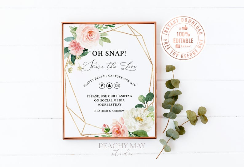 Floral Oh Snap Wedding Sign Template 20