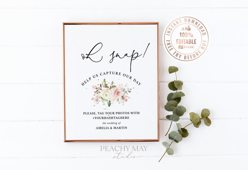 Floral Oh Snap Wedding Sign Template 21