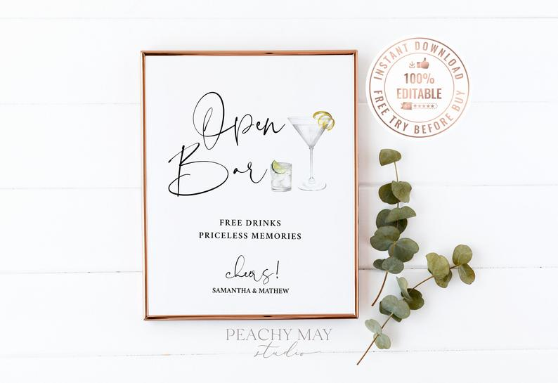 Editable Watercolor Wedding Bar Menu Sign Template 22