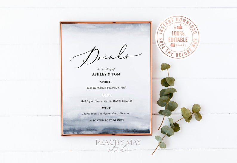 Editable Watercolor Wedding Bar Menu Sign Template 3