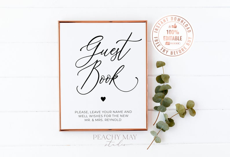 Editable Guest Book Table Sign Template 7