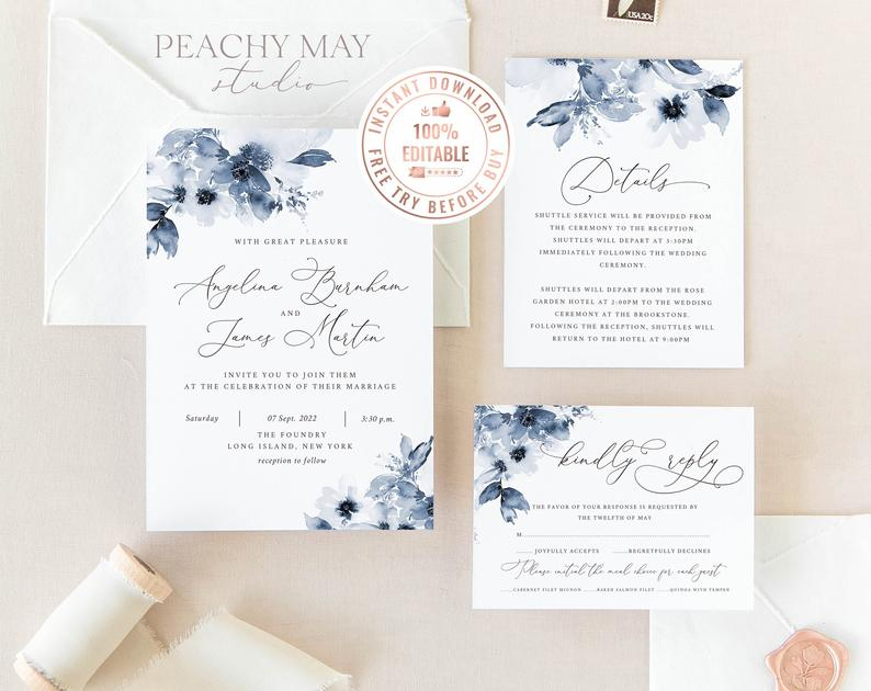 Navy Peony Wedding Invitation Template 002
