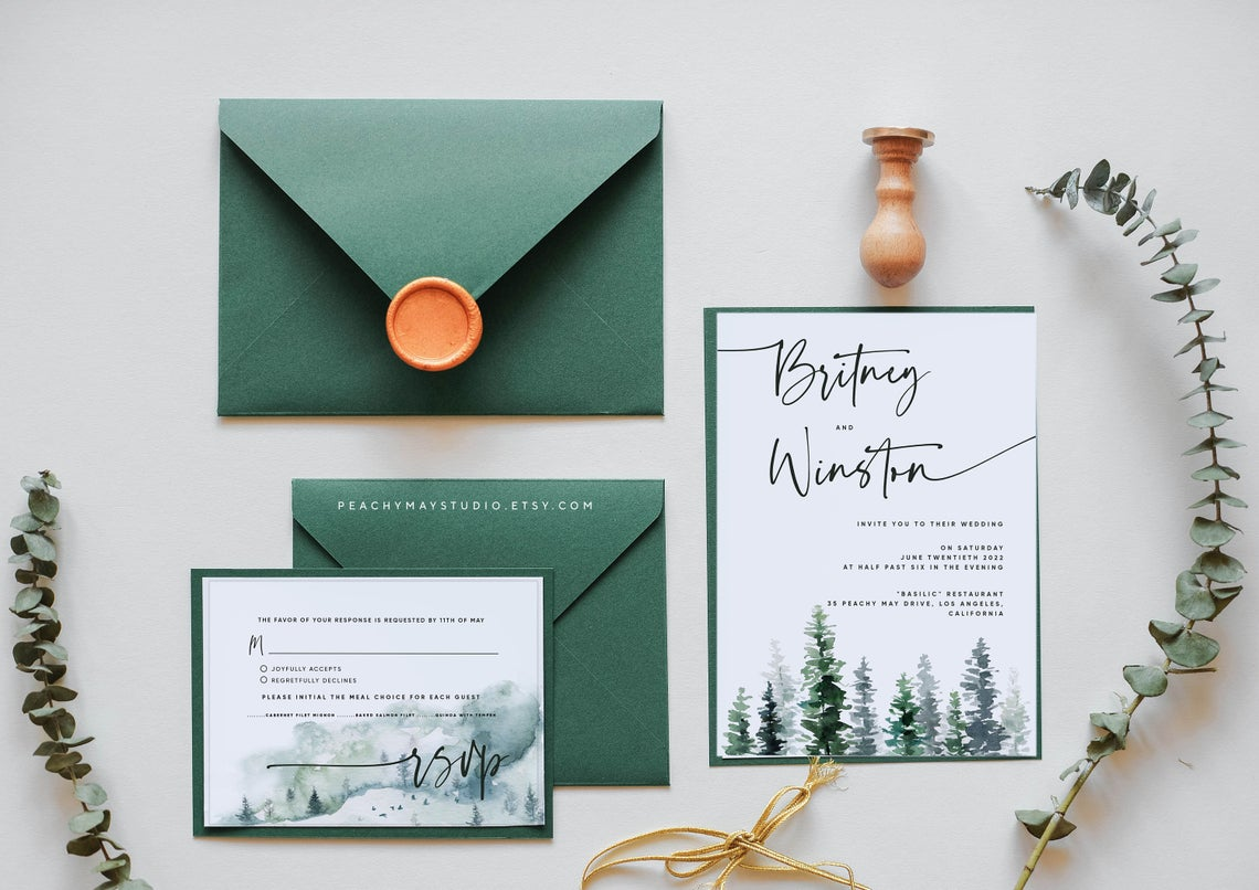 Mountain Wedding Invitation Template