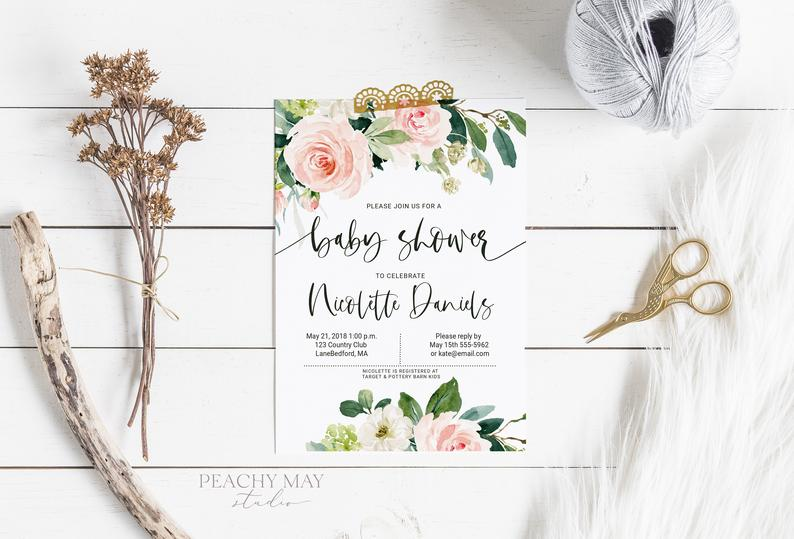 Floral baby Shower Invite Template 1