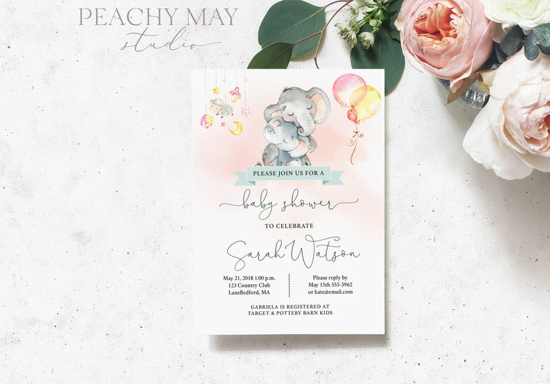 Baby Elephant Girl Baby Shower Invitation 13