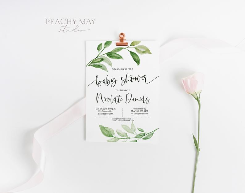 Greenery baby Shower Invite Template 2