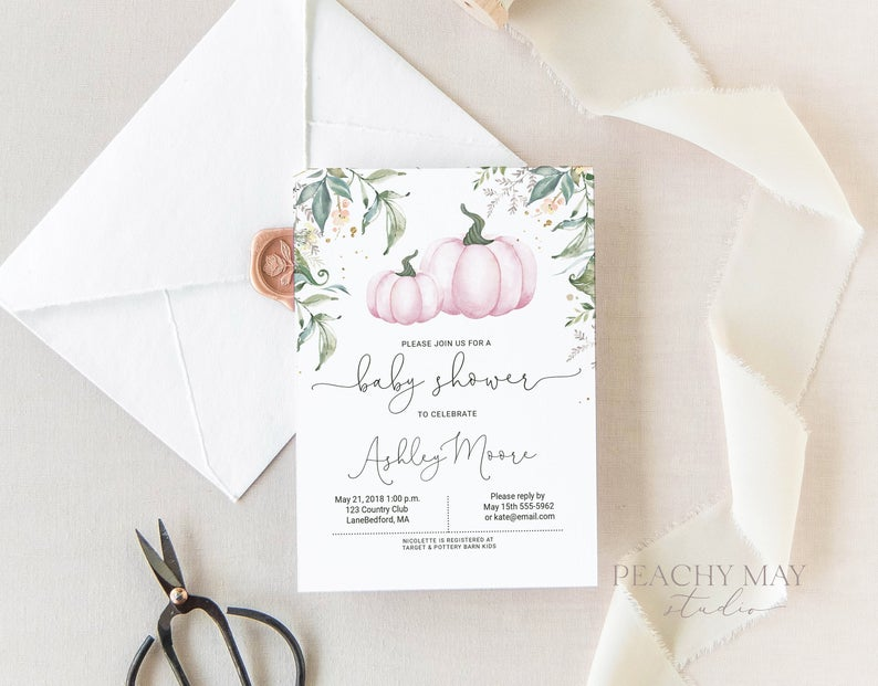 Pumpkin Baby Shower Invitation Template 4