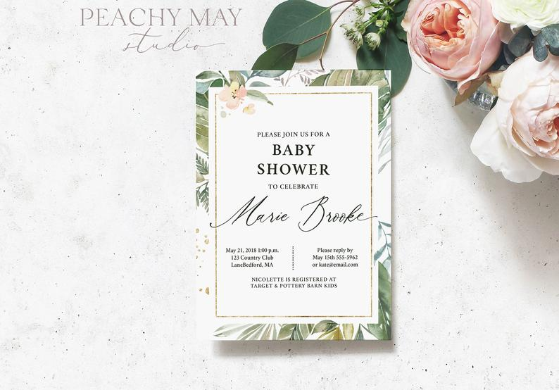 Greenery Baby Shower Invite Template 8