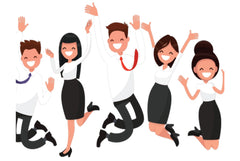happy employees jumping up and down with joy