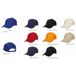 6 Panel Cotton Brush Baseball Cap with Under Color