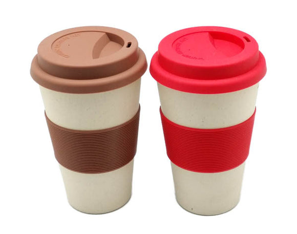 Bamboo Fibre Coffee Cup with Silicone Grip