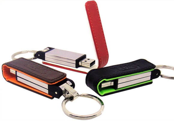 Leather Flash Drive with Magnetic Flip Case