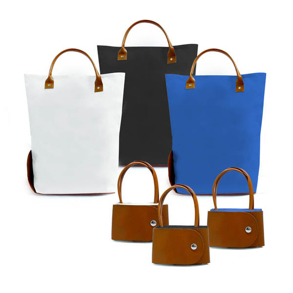 Lola Foldable Polyester Tote Bag with PU Leather Handle