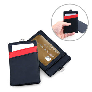 PU Leather Card Holder with Window and Compartment Slots