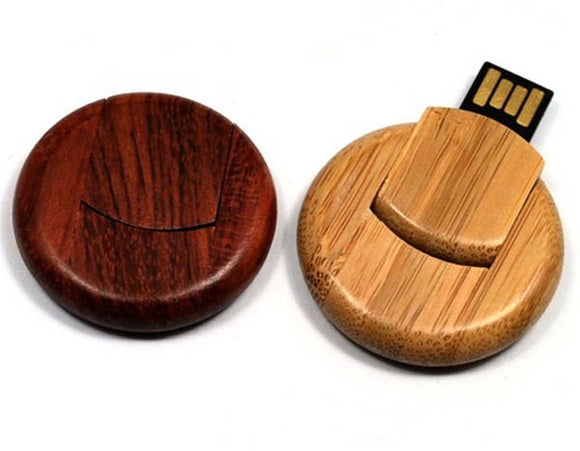 Round Wood Flash Drive