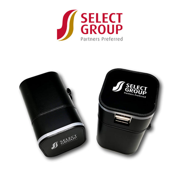 Select Group Travel Adapter with Lit Up Logo
