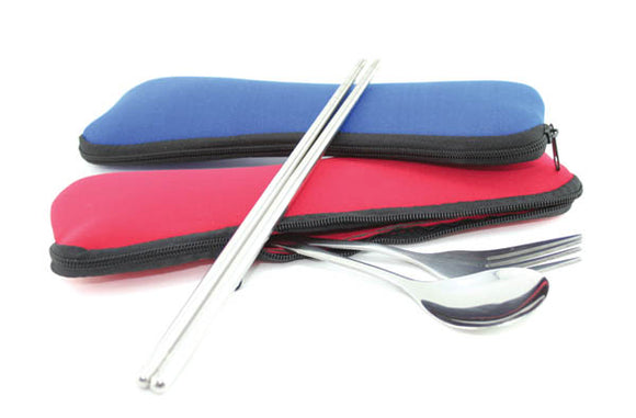 Stainless Steel Cutley Set with Neoprene Pouch
