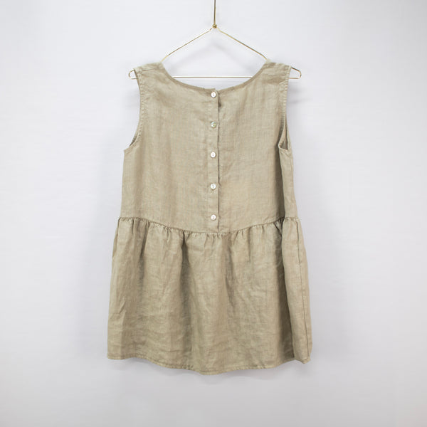 Montaigne Linen Singlet Top With Buttons Down The Back
