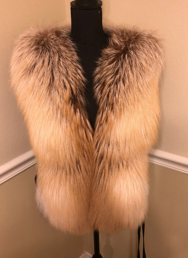 Candice Gold Fox Vest Size XL
