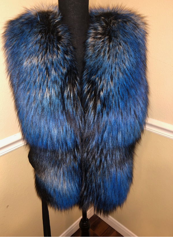 Candice Silver Fox Fur Vest Size XL