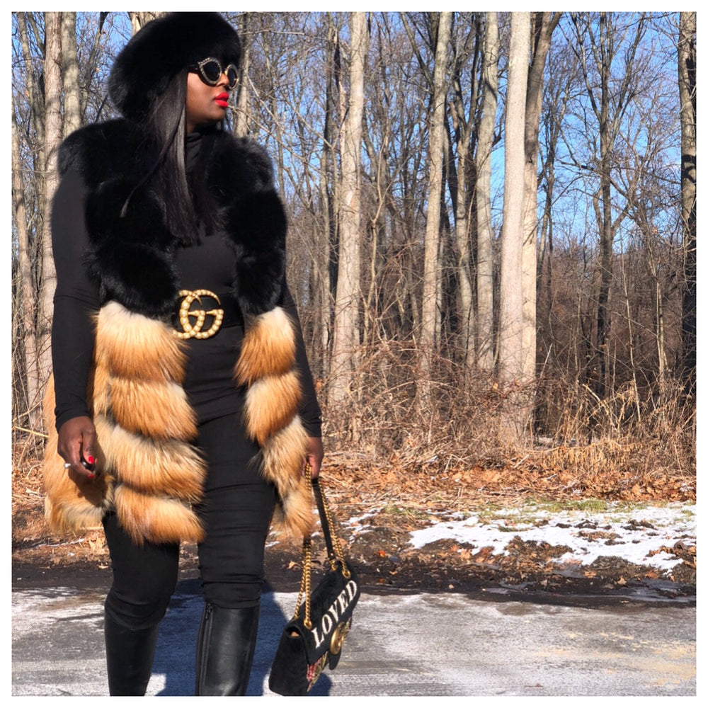 Shirley Two Tone Fox Fur Vest