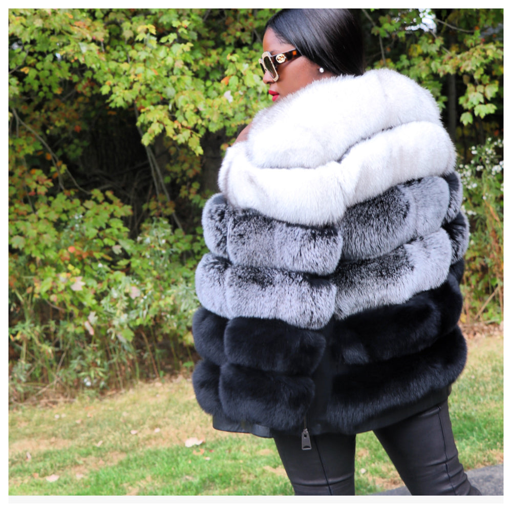 Cardina Tri-Color Fox Fur Coat