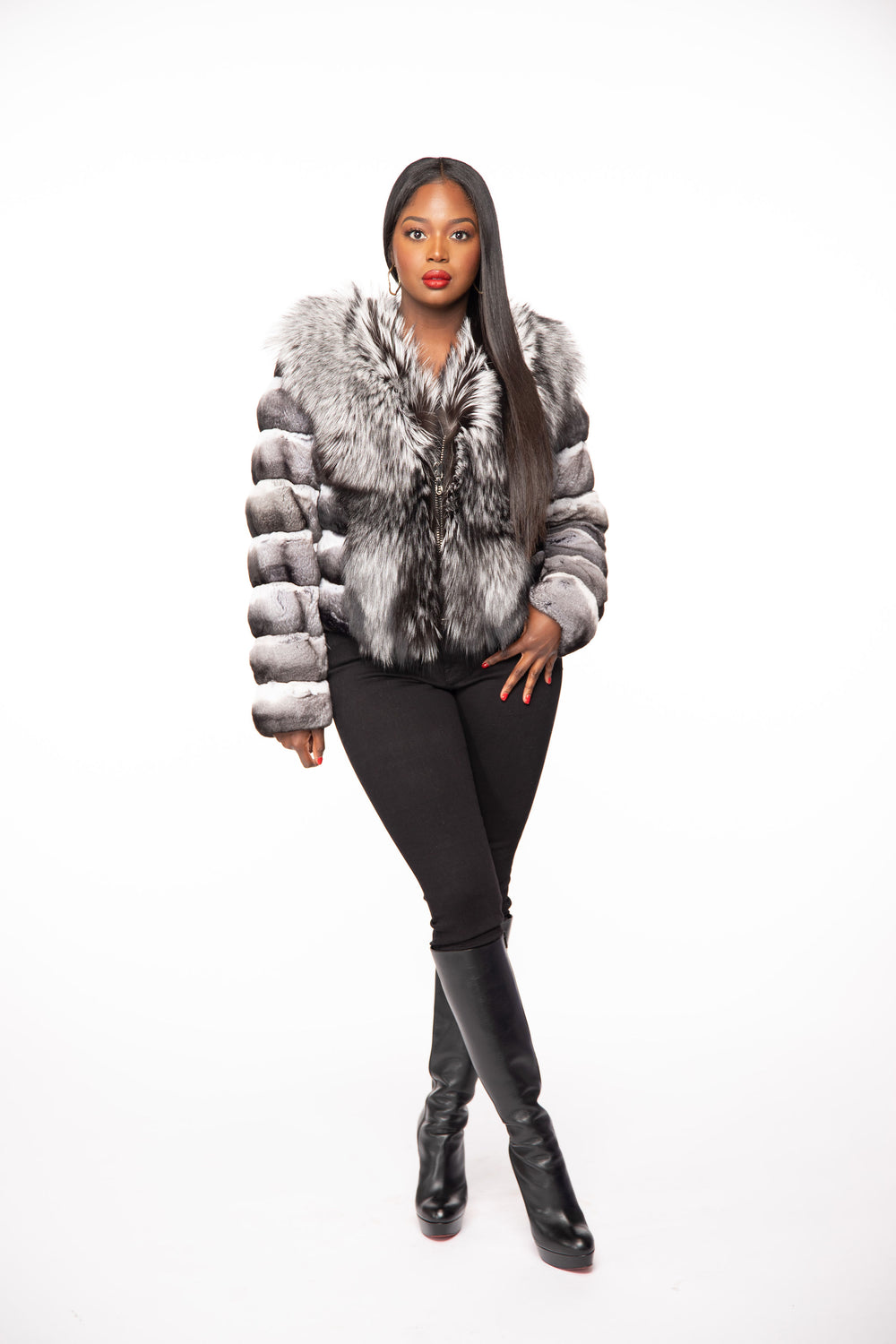 Roz II Chinchilla and Silver Fox Jacket