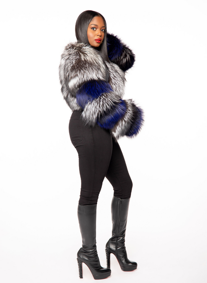Candice Silver Fox Fur Bolero