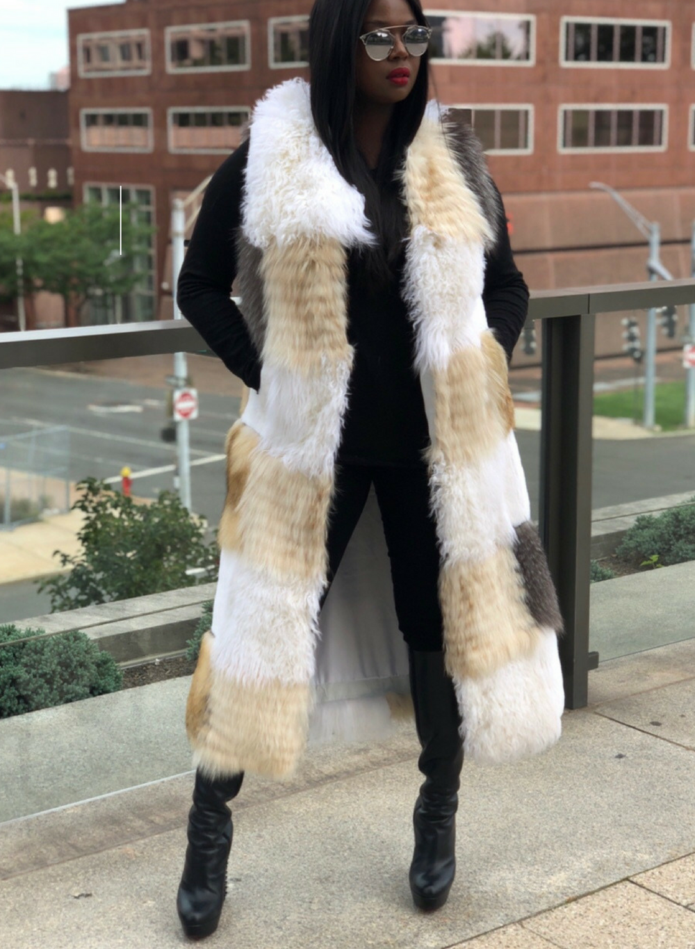 Kendall Mix Fox Fur Full Length Vest