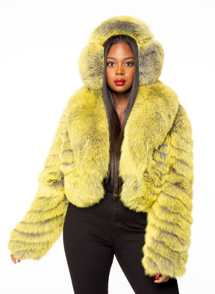 Skylar Fox Fur Earmuffs Lime Verso