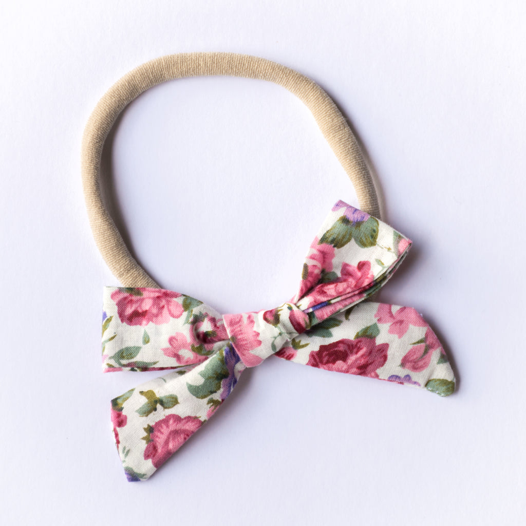 Evie bow - Pink Flora