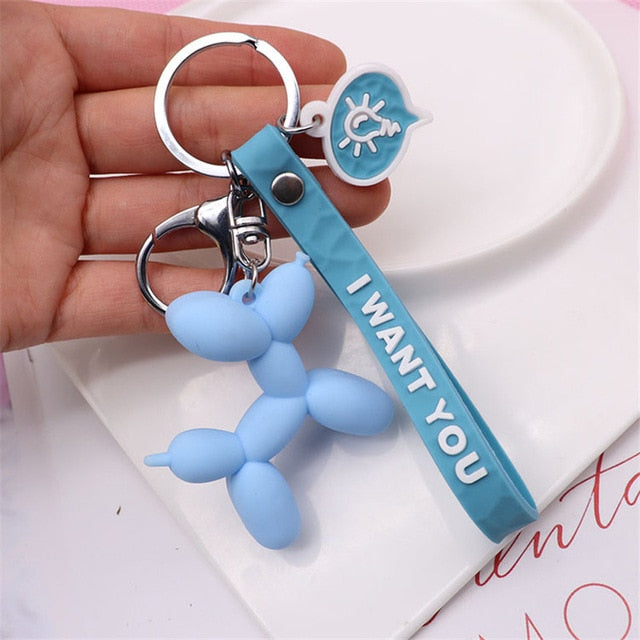 Cartoon Balloon Dog Keychain Colorful Soft Rubber PVC Lovely Dog Keychains For Women Key Chain Car Key Ring Bag Pendant Jewelry