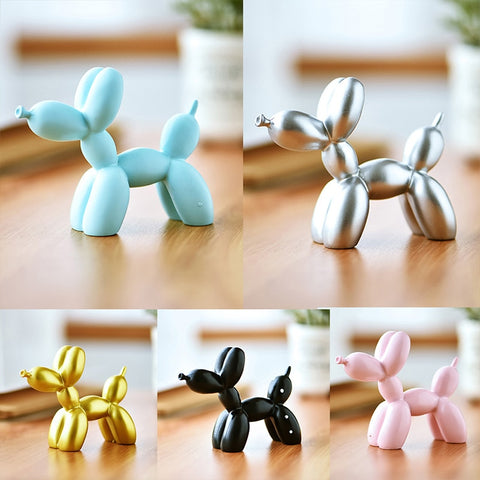 Resin Crafts Sculpture Gift Cute Small Balloon Dog Party Accessories Home Desktop Ornament Cake Dessert Decoration 9*3.5*7.5cm