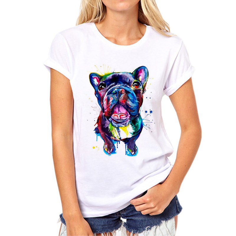 Hot sale Stained dog printed woman's t-shirt summer Bulldog/Great dane Print Tops Fashion Girl Tshirt Tee Shirt Femme 97N-1#