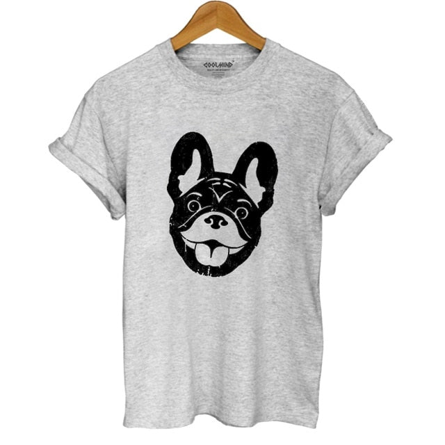 COOLMIND DO0105B cotton french bulldog print t shirt women casual dog print t-shirt for girls summer women tshirt tops