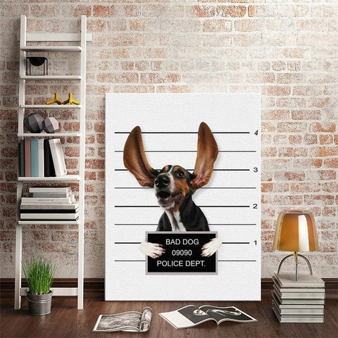 Nordic Style Boxing Dog Canvas No Frame Art Print Painting Poster Funny Cartoon Animal Wall Pictures For Kids Room Decoration