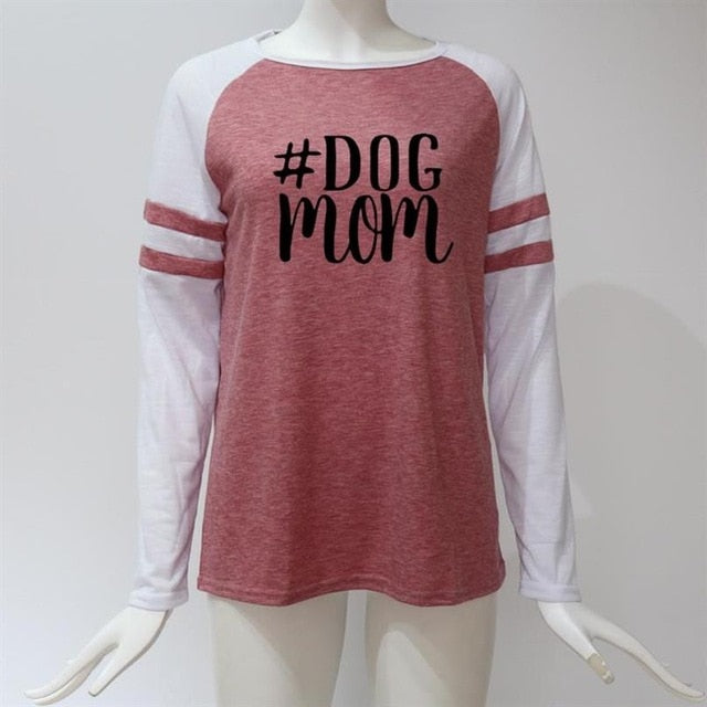 2019 New Fashion T-Shirt for Women Long Sleeve Stitching Dog Mom Letters Print  Women Tshirt Harajuku Tops Plus Size	 Femme