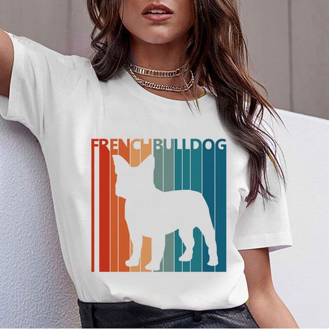 Dachshund Pug Teckel Funny T Shirt Women Harajuku Cute French Bulldog Frances German Shepherd T-shirt Pit Bull Tshirt Top Female