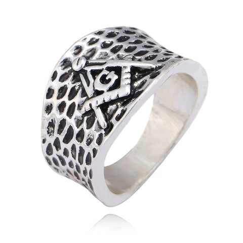 Men's 2018 Silver Masonic Symbols Ring