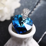Womens Beautiful Love Heart in Blue Crystal - .925 Sterling Silver - Ships Free
